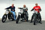 The Museum will display motorcycles similar to this trio which participated in the 2013 New Hampshire Motor Speedway vintage motorcycle event. The plan is to have lots of motorcycles on display during Laconia Bike Week. Left to right are Bill Tulman, Bobby Hill and Ernie Belkman.