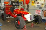 Board Member and owner of Seals-it, Skip Matczak, ran this Sprint Car throughout New England and beyond with Gene Bergin and Buddy Krebs as drivers. The car had been missing for years before Matczak found it in a barn. It was carefully restored by Jim Martel. Matczak and Martel decided to not paint the body which is exactly as it came off the track after its final race.